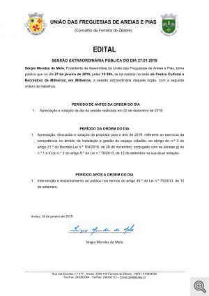 assembleia extraordinaria 27.01.2019